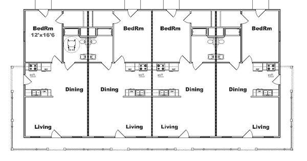 Multi plex house plans and multi family floor plan designs for 6 plex floor plans