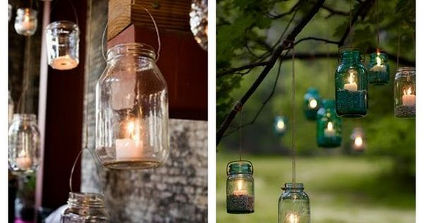 Outdoor Wedding Decorations | Vintage wedding ideas- mason jars for wedding decor