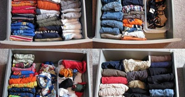 Fold clothes and file into drawers instead of stacking! Makes more room