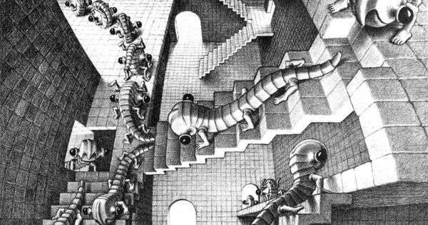 m c escher la maison aux escaliers lithographie 1951 m c escher pinterest house. Black Bedroom Furniture Sets. Home Design Ideas