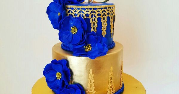 Royal Blue And Gold 18th Birthday Cake Aggie S Sweets