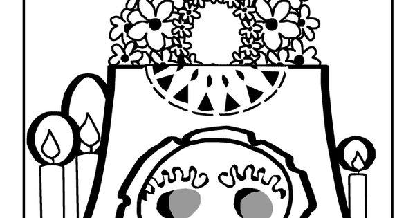 Day Of The Dead Altar Coloring Page Dia De Los Muertos Day Of The Dead Altar Coloring Pages