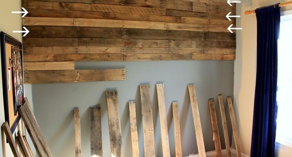 Wood pallet wall. Want to do this in our basement on an