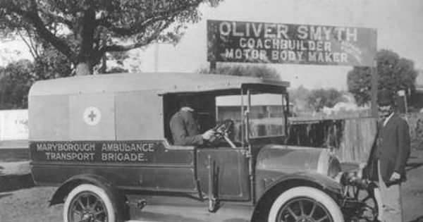 Ambulance Service For Marybourough Queensland Ca 1918 Maryborough Ambulance Transport Brigade Vehicle Custom Built Am Ambulance History Emergency Vehicles