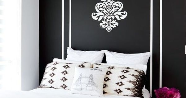 Black and white Bedroom- would be a cool guest bedroom