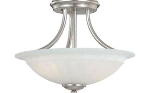 Foyer Light Fixtures Menards : Savvy light quot satin nickel semi flush mount at