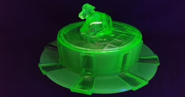 Delightful And Quirky Art Deco Stolzle Uranium Glass Large Butter Dish With Cow Handle Quirky Art Vintage Green Glass Blown Glass Art