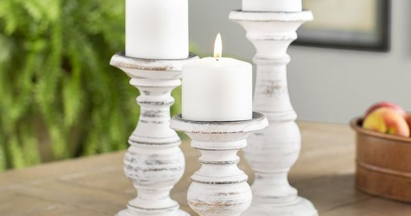 3 Piece Wood Candlestick Set In 2021 Wood Candle Sticks Candle Stick Decor Wooden Candle Sticks
