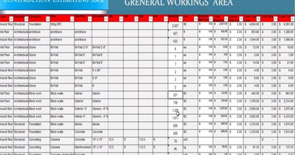 Construction Estimating Software In Excel Sheet Xsell Is A Spreadsheet Program Meant For Cons Construction Estimating Software Construction Construction Cost