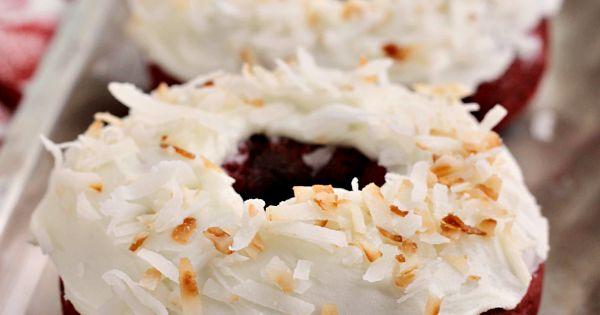 Red velvet donuts, Toasted coconut and Red velvet on Pinterest