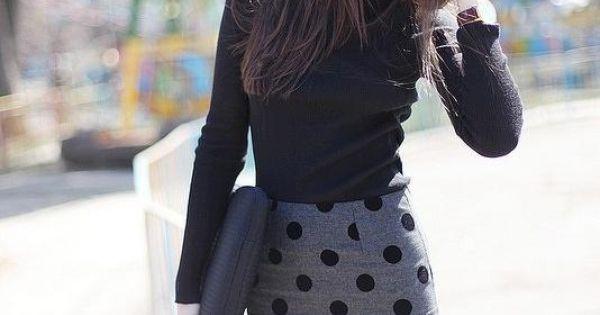 #streetstyle fashion skirt polkadots ELLE