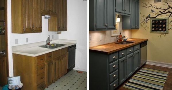 Before & After: small Kitchen Makeover via Addicted 2 Decorating~ Great ideas