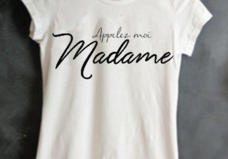 T shirt appelez moi madame mariage cadeau evjf lendemain de mariage vive la mari e evjf - Cadeau jeune marie ...