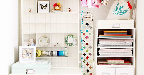 A dreamy craft closet! A small space delight. The drawer unit from
