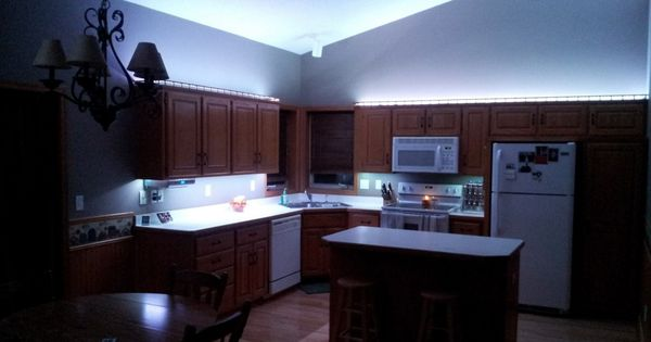 Cool Blue Led Light Under And Up Cabinet Kitchen Lighitng Decor Ideas