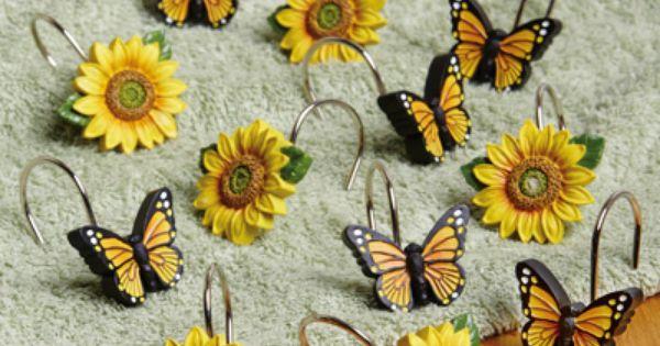 Sunflowers Butterflies Shower Curtain Hooks Shower Curtain