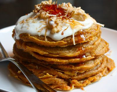 Carrot Cake Pancakes, complete w\/ Greek yogurt & cream cheese topping. Stop!