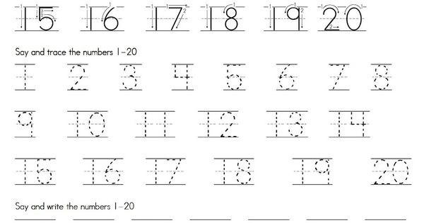 Trace Numbers 1-20 Printable