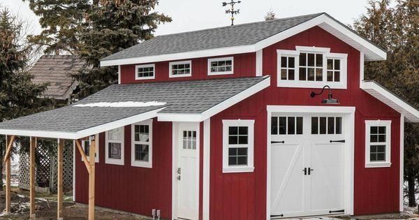 Charming red barn garage featuring clopay coachman for Clopay steel garage doors