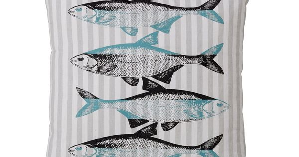 Coussin motif poisson gris fish tex les coussins for Alizea linge d interieur