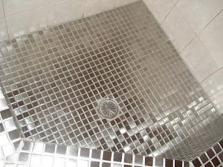 Custom Made Built In Shower With Stainless Steel Tiles And Epoxy Glitter Shiny Grout Glittergrout Stainless Steel Tile Custom Shower Design