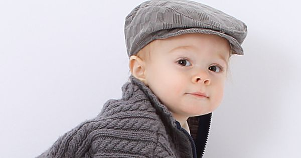 Baby Flat Cap In Grey Checkerboard Aka Irish Or Newsboy