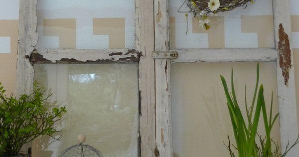 Shabby fenster als dekoration garten fensterrahmen u - Fensterrahmen als deko ...