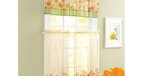 Sunflower theme kitchen curtains windows walmart home pinterest kitchen curtains kitchens - Kitchen curtains walmart ...