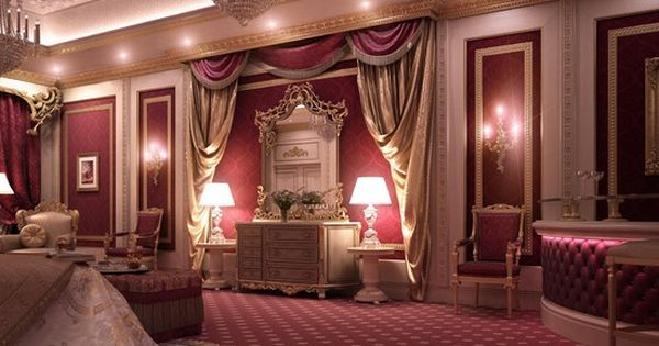 Burgundy bedroom designs decorated in gold and for Burgundy bedroom designs