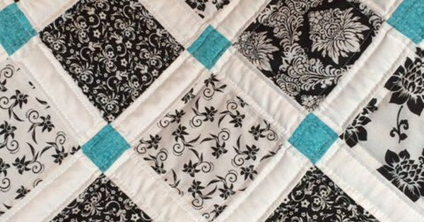 Black, White and Teal Quilt By AllAboutTheDetail- this would be a nice
