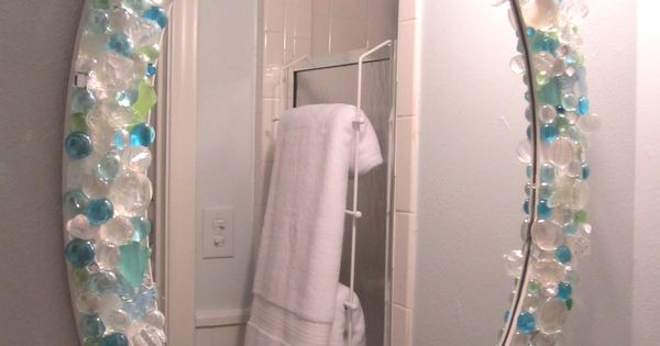Mirror In Small Bathroom Is A Diy With Sea Glass Crystals