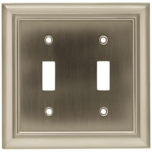 Hampton Bay Architectural 2 Toggle Switch Wall Plate Satin Nickel W10085 Sn Uh At The Plates On Wall Decorative Light Switch Covers Decorative Switch Plate