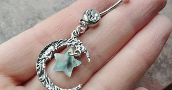 Moon and Paua Shell Star Belly Button Jewelry Ring