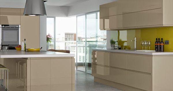 Download Wallpaper White Gloss J Pull Kitchen Doors