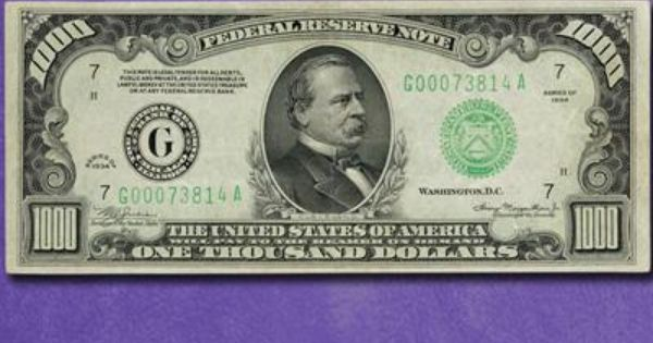 The Last U S 1 000 Bill Thousand Dollar Bill Coin Collecting