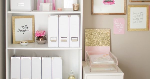 pretty organization in pink and white office
