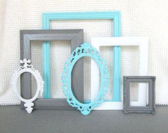 Turquoise Aqua Blue, Grey White Vintage Picture Frames Set ...