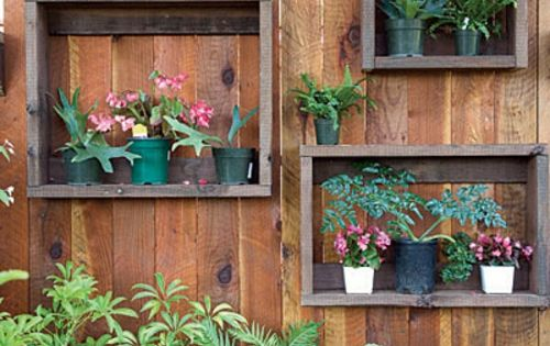 Gartendeko blumen pflanzen holz regale blumentopf home sweet home