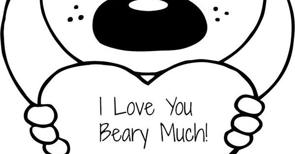 FREE Valentines I Love You Beary Much Coloring Page