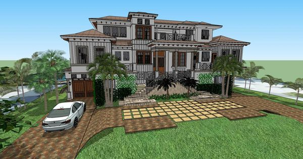 British West Indies House Plans 137 Keys Front Elevation
