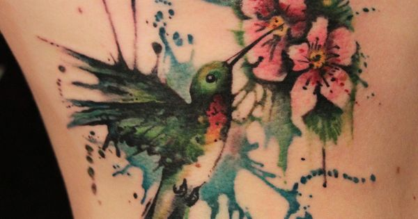 forget me not hummingbird tattoo | Kick Ass Tattoo Ideas: Watercolor Style