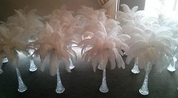White ostrich feather centerpieces pinterest