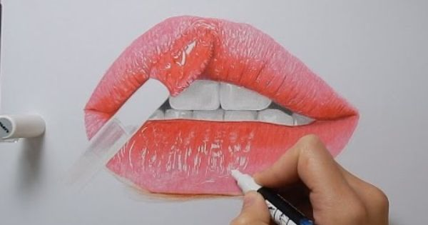 Tutorial How To Draw Realistic Glossy Lips With Copic Markers