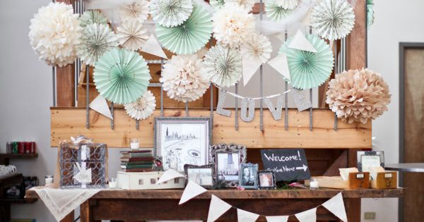 Welcome table ~ Vintage wedding at Kitchen Chicago via Style Me Pretty