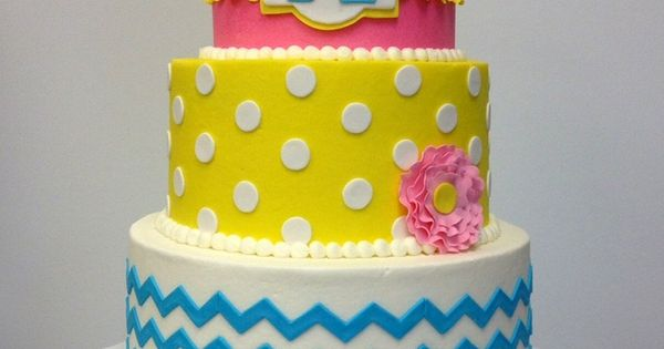 dot girly birthday cake. Pink yellow blue chevron cake. monogram cake ...