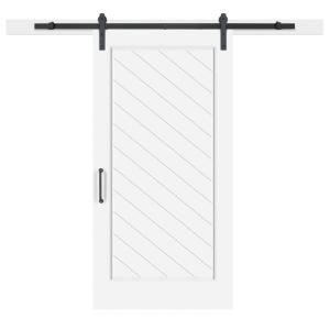 Jeff Lewis 42 In X 84 In White Collar 1 Panel Herringbone Mdf Barn Door With Sliding Door Hardware Kit Indoor Barn Doors Hanging Barn Doors Barn Door Handles