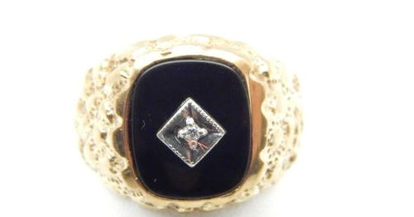 Classic Men 39 S 10k Gold Nugget Ring W Black Onyx Amp Diamond Gold Nugget Ring Gold Nugget My Jewellery
