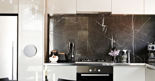 Modern glam black white kitchen