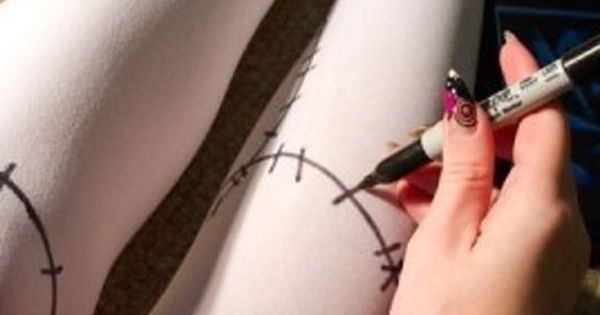 Draw on white stockings to channel Sally from Nightmare Before Christmas. |