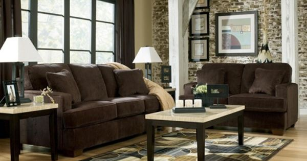 Signature Design By Ashley Furniture Atmore Chocolate Living Room Sofa With Corded Microfiber